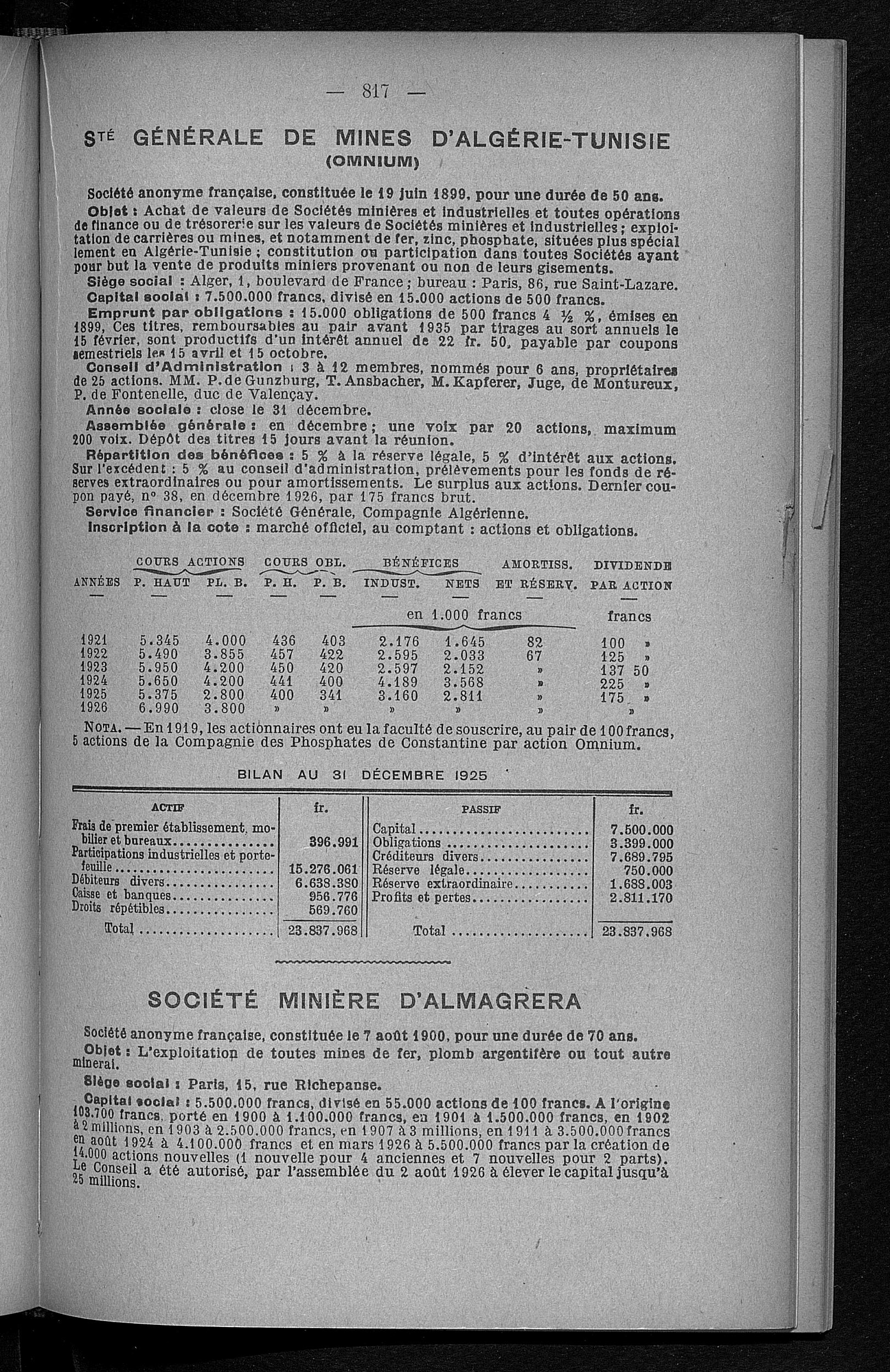 Après 1921 Collections Part au porteur Cie Minière de l
